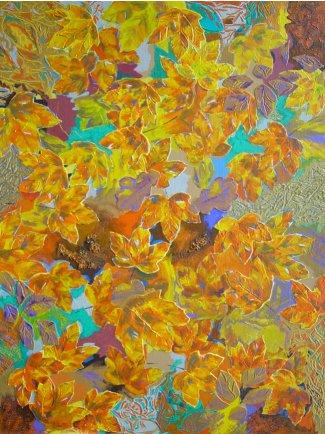 Maleri natur - efteraarsblade Temp D'automne 2005 - Billedkunstner Odder Lars Stounberg