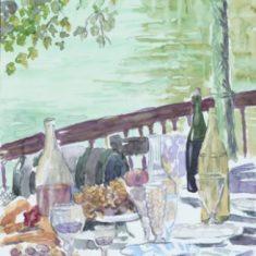 Titel: Terrasse natur kvarel 33 x 42 cm 1999 - Billedkunstner Odder Lars Stounberg