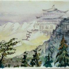 Titel: Tibet akvarel 36 x 51 cm 2000 Billedkunstner Odder Lars Stounberg