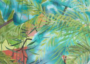 Farverig maleri - Tropiske blade natur 2014 -Billedkunstner Odder Lars Stounberg