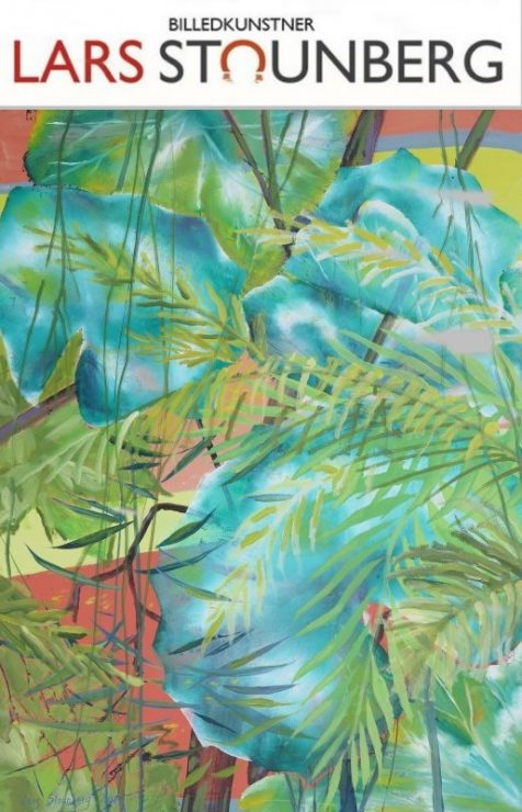 Maleri regnskov - tropiske blade af billedkunstner Lars Stounberg