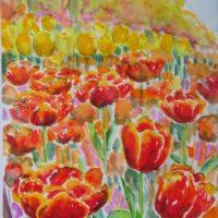 Farverig moderne akvarel - Tulipaner Gavnoe Slot foraar 2007 - Billedkunstner Odder Lars Stounberg