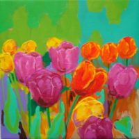 Maleri - Tulipaner Gavnoe foraar Billedkunstner Odder Lars Stounberg 2011