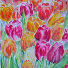 Akvarel Tulipaner solgt til IBS, Farum - Billedkunstner Odder Lars Stounberg