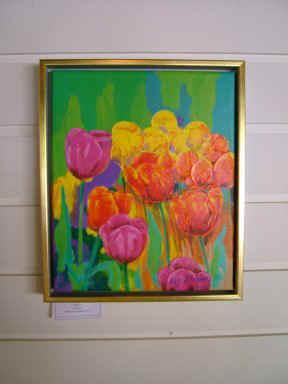 Maleriudstilling med tulipaner Gavnoe Slot 2010 - Lars Stounberg - nærbillede af maleri