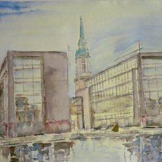 Titel: Unibank København akvarel 45 x 52 cm 2001 - Billedkunstner Odder Lars Stounberg'