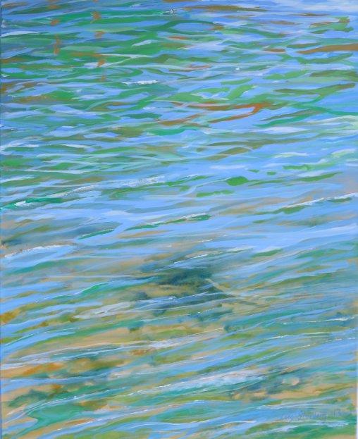 Maleri med vandspejlinger i vandet malet 2013