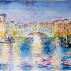 Titel: Venedig Rialtobroen aften akvarel 32 x 50 cm 2003 - Billedkunstner Odder Lars Stounberg