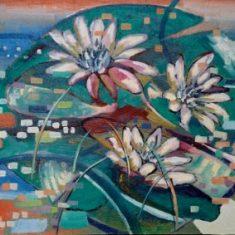 Titel: Waterlily oil 50x60 cm 2003 - Billedkunstner Odder Lars Stounberg