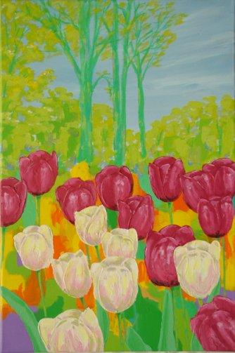 Farverigt moderne maleri - Mørkeroede og hvide tulipaner foraar 2011 - Billedkunstner Odder Lars Stounberg