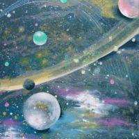 Farverigt moderne maleri - galakser - mælkevejen 2010 - Billedkunstner Odder Lars Stounberg