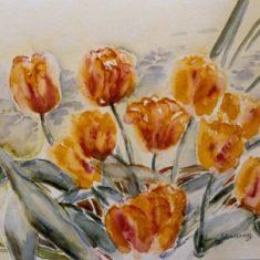Titel: Gul tulipan akvarel 32 x 42 cm 2002 - Billedkunstner Odder Lars Stounberg